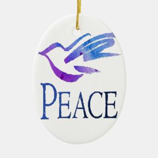 Paloma de la paz adorno navideño ovalado de cerámica