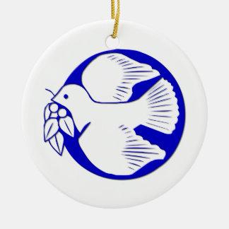 Paloma de la paz adorno navideño redondo de cerámica