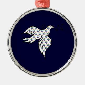 Paloma de la paz adorno navideño redondo de metal