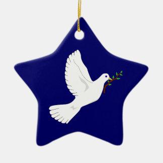 Paloma de la paz (azul) adorno navideño de cerámica en forma de estrella