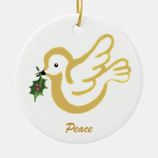 Paloma de la paz del navidad adorno redondo de cerámica