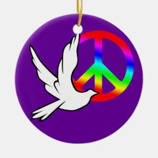 Paloma de la paz del ornamento del círculo adorno navideño redondo de cerámica