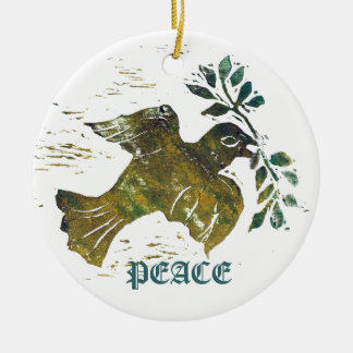 Paloma de la paz - impresión de bloque en color adorno navideño redondo de cerámica