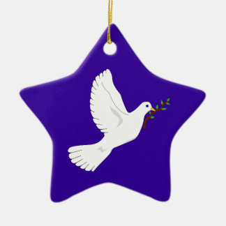 Paloma de la paz (púrpura) adorno de cerámica en forma de estrella