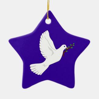 Paloma de la paz (púrpura) adorno navideño de cerámica en forma de estrella
