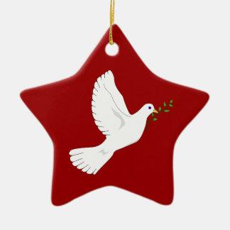 Paloma de la paz (roja) adorno navideño de cerámica en forma de estrella