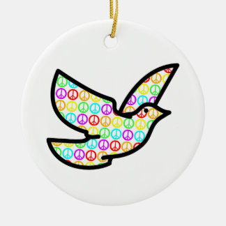 Paloma de los signos de la paz del arco iris adorno redondo de cerámica