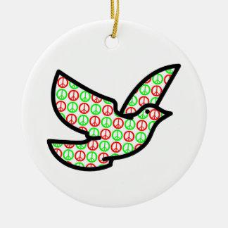 Paloma de los signos de la paz del día de fiesta adorno navideño redondo de cerámica