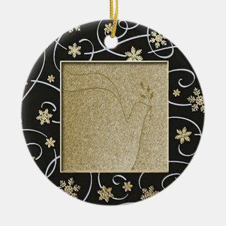 Paloma de oro de la paz adorno navideño redondo de cerámica