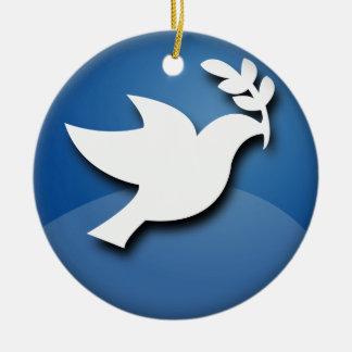 Paloma del azul y blanca de la paz ornaments para arbol de navidad