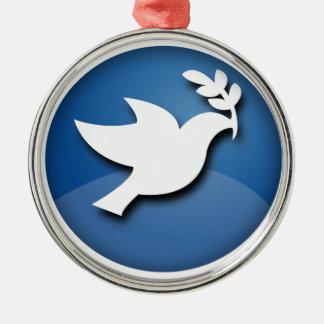 Paloma del azul y blanca de la paz adorno navideño redondo de metal
