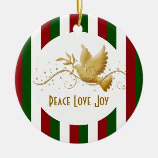 Paloma del navidad de la paz adorno redondo de cerámica