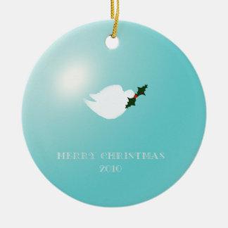 Paloma del navidad de la paz azul adorno navideño redondo de cerámica