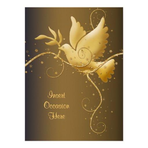 Paloma del navidad de la paz invitacion personalizada