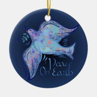 Paloma del ornamento de la paz adorno redondo de cerámica