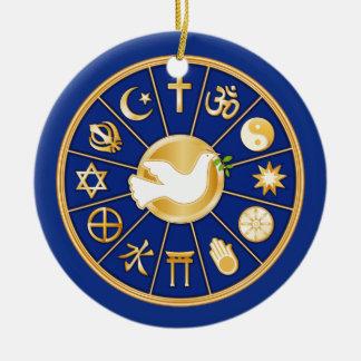 Paloma del ornamento de la paz adorno navideño redondo de cerámica