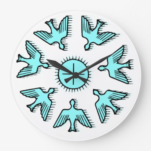 Paloma del reloj de pared cristiano de la paz zazzle - Relojes de pared personalizados ...
