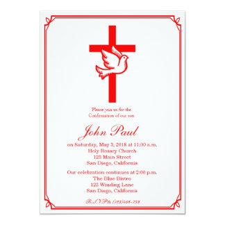 Paloma del rojo e invitación de la confirmación de
