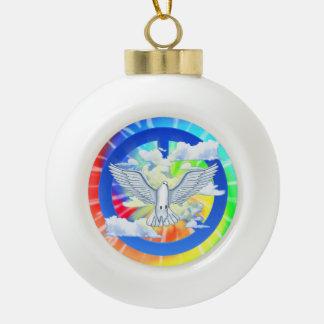 Paloma del teñido anudado de la paz adorno de cerámica en forma de bola