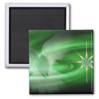 Paloma del verde y estrella del norte imanes