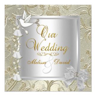 Paloma elegante del blanco de la plata del oro del invitación 13,3 cm x 13,3cm