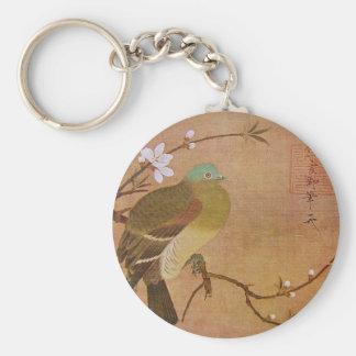 Paloma en una rama del melocotón llavero redondo tipo chapa