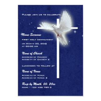 Paloma religiosa de la confirmación de la comunión invitación 12,7 x 17,8 cm