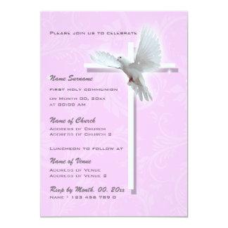 Paloma religiosa de la confirmación de la comunión invitación