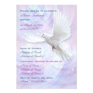 Paloma religiosa de la confirmación de la comunión invitacion personalizada