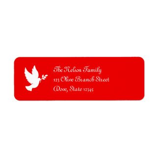 Paloma roja y blanca de la paz etiquetas de remite