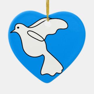 Paloma y paz adorno navideño de cerámica en forma de corazón