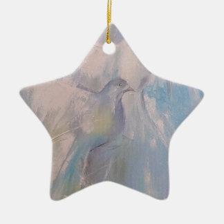 palomas de la paz adorno navideño de cerámica en forma de estrella
