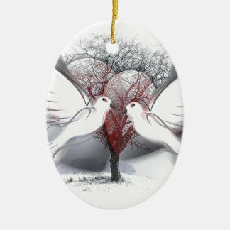 Palomas de la paz adorno navideño ovalado de cerámica
