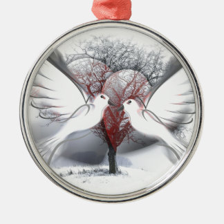 Palomas de la paz adorno navideño redondo de metal