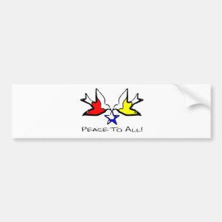 Palomas de la paz - diseño cristiano moderno pegatina para coche