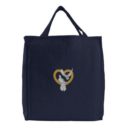 Palomas de oro del corazón bolsas de lienzo