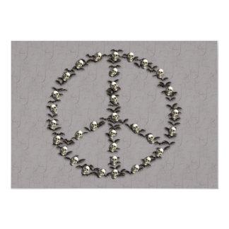 Palos y signo de la paz de los cráneos invitación 12,7 x 17,8 cm