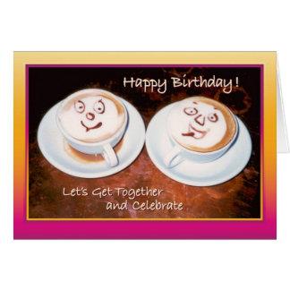 Pals del café - tarjeta del feliz cumpleaños
