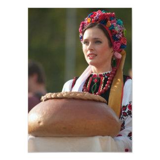 Pan y sal ucranianos de la mujer invitación 11,4 x 15,8 cm
