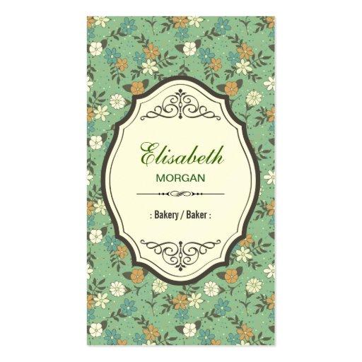 Panadería/panadero - vintage elegante floral tarjeta personal
