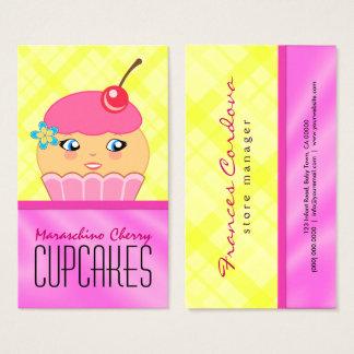 Panadería rosada y amarilla del panadero del tarjeta de visita