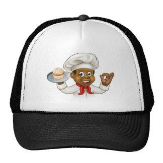 Panadero o chef de repostería negro del dibujo gorra