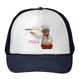 Panadero pequeño de la pizza de los osos gorros bordados