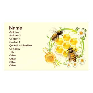Panal de la abeja de la miel floral tarjetas de visita