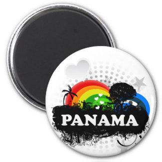 Panamá con sabor a fruta linda imán redondo 5 cm
