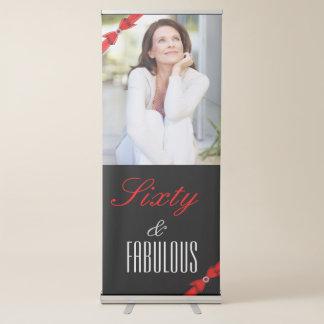 Pancarta Retráctil Cumpleaños elegante negro rojo fabuloso de 60