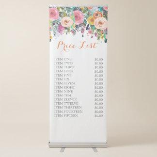 Pancarta Retráctil Muestra derecha libre floral pintada del precio