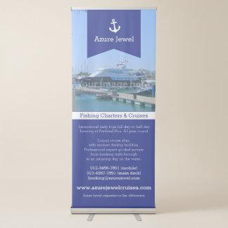Pancarta Retráctil Negocio náutico de la navegación blanca azul de la
