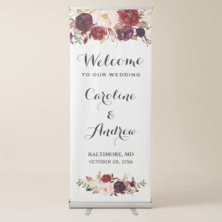 Pancarta Retráctil Recepción floral roja rústica del boda de Borgoña