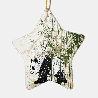 Panda abstracta en el bosque de bambú adorno de cerámica en forma de estrella